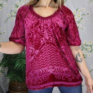 SUNDANCE pink silk and velvet blouse